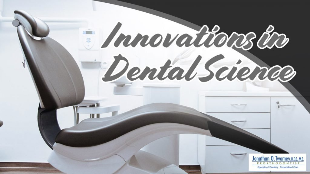 High tech dental chair and text graphics